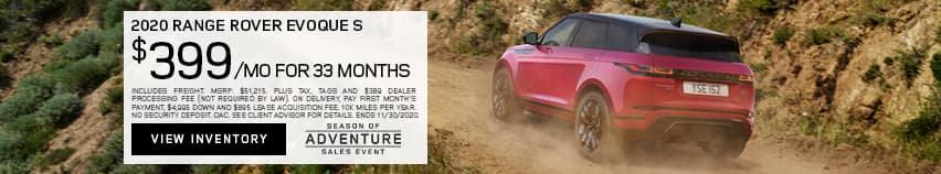 2020 Range Rover Evoque S $399 Per Month For 33 Months
