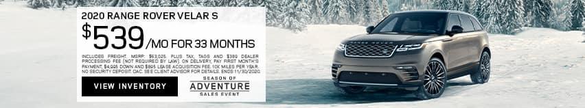 2020 Range Rover Velar S $539 Per Month For 33 Months