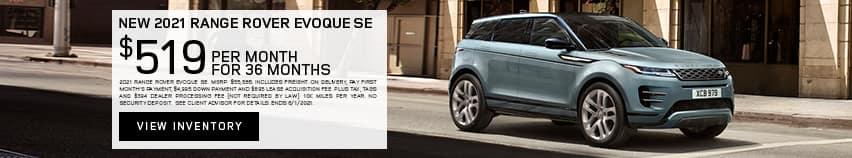 New 2021 Range Rover Evoque SE - $519 per month for 36 months.