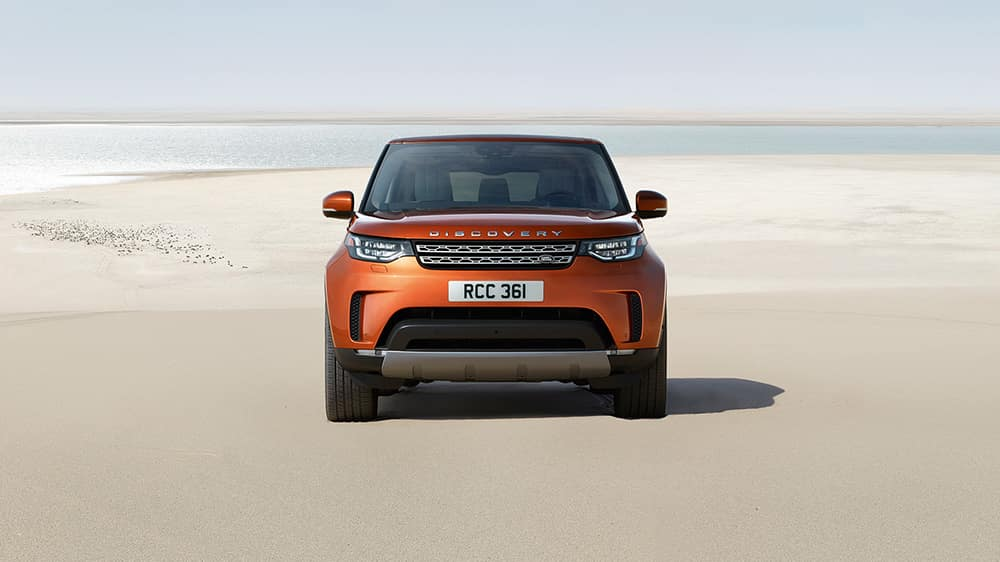 2019 Land Rover Discovery Front End View Parked on a Beach