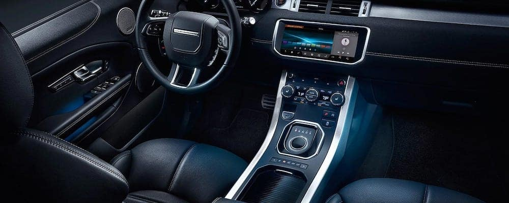 2019 range rover evoque interior with view of center console and dash