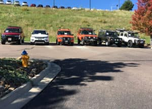 land rovers and range rovers at british motoring festival in colorado springs