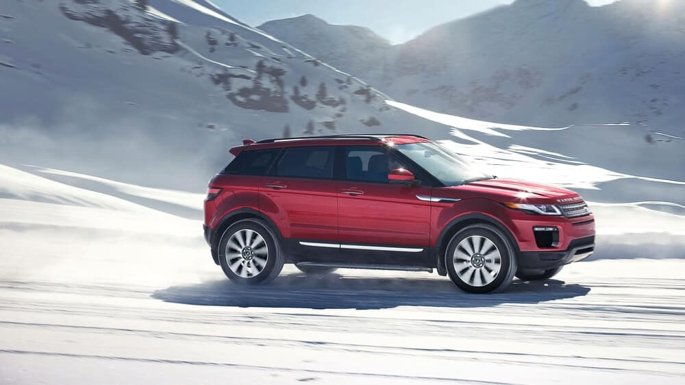 2018 Land Rover Range Rover Evoque off roading through snow