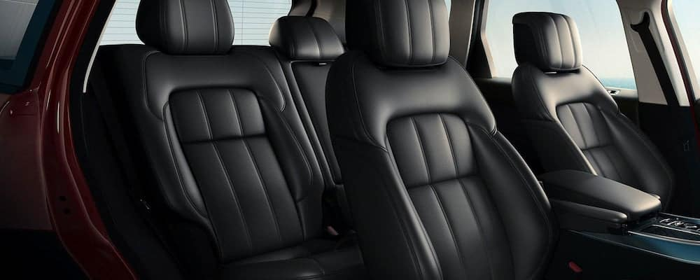 2019 Range Rover Sport view of front and rear seats black leather interior