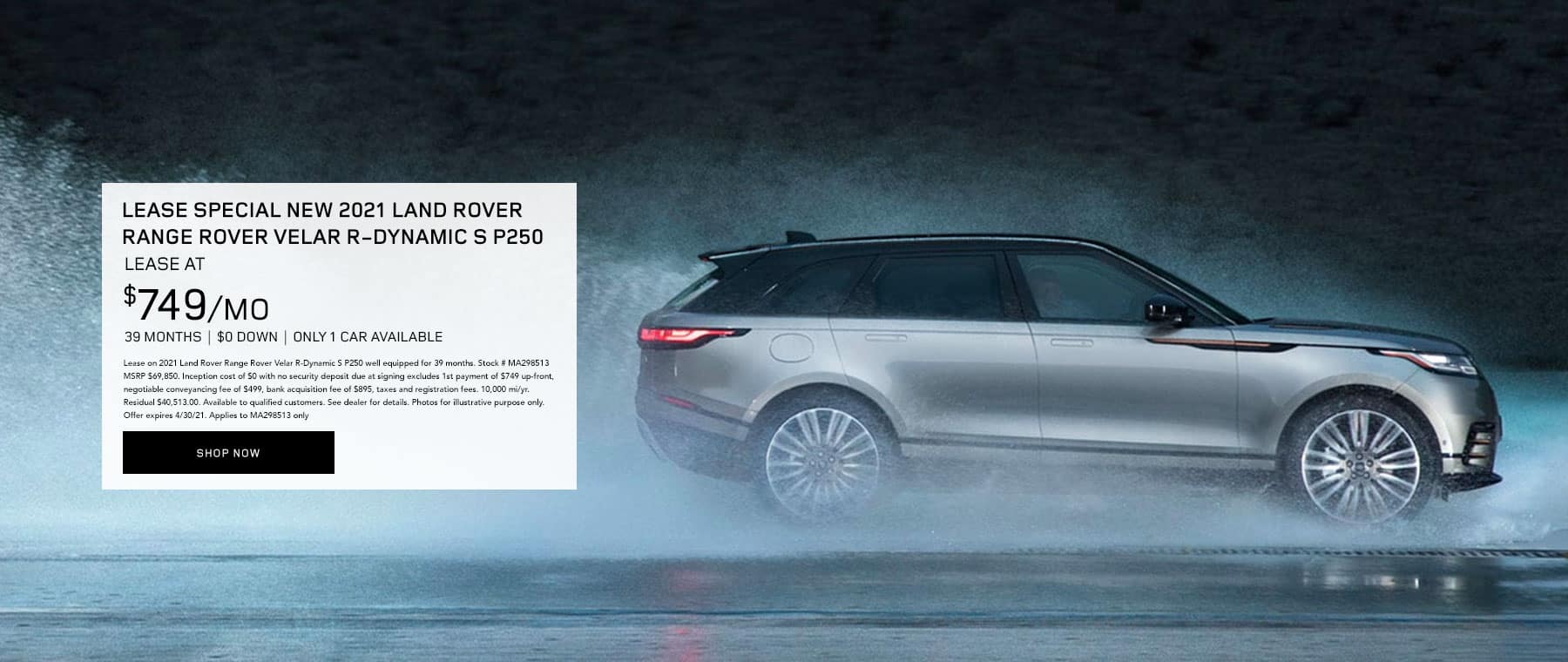 LEASE SPECIAL 2021 Land Rover Range Rover Velar R-Dynamic S P250 – only 1 car available
