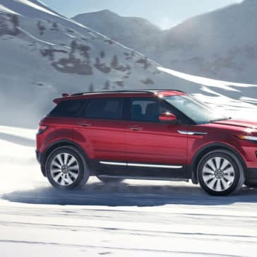 2018 Land Rover Range Rover Evoque off roading in snow