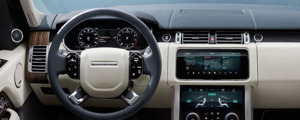 2019 land rover range rover interior view of steering wheel and dashboard