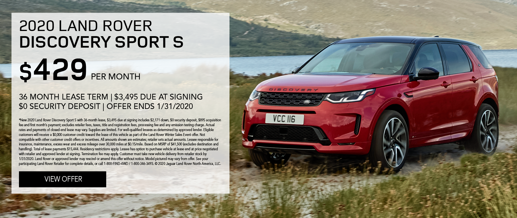 2020 Land Rover Discovery Sport S  | $429/month | 36-month lease | 10,000 miles/year | $3,495 due at signing | $0 security deposit | expires 1/31/2020