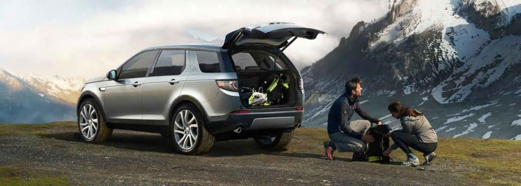 2018 Land Rover Discovery Sport back door open, loaded with equipment