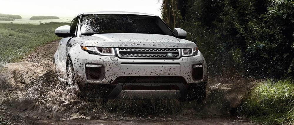 2018 Land Rover Range Rover Evoque driving through mud