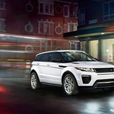 2019 Range Rover Evoque in city at night