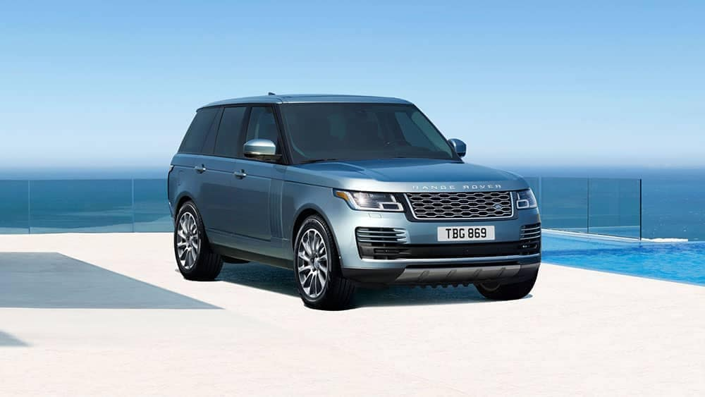 2019 Range Rover parked by water