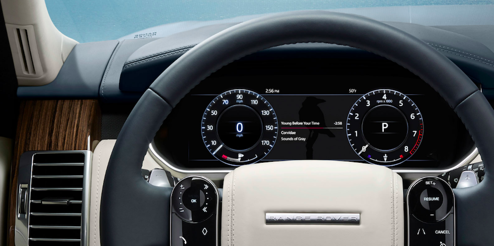 Close up of Range Rover steering wheel