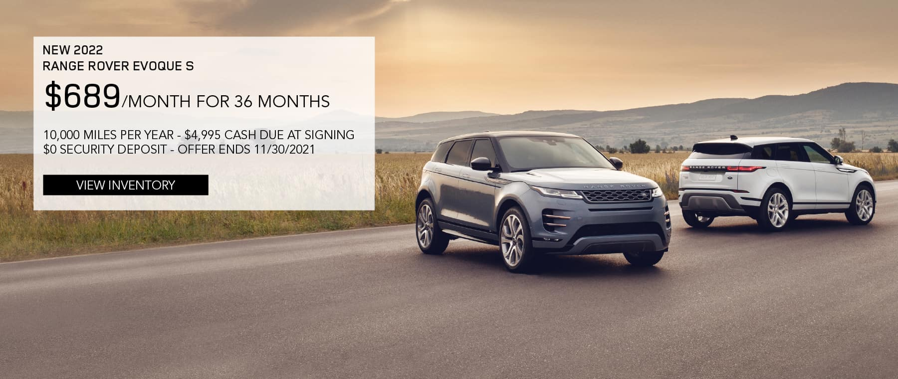 2020 Land Rover Discovery HSE. $647 per month for 33 months. $3,500 CCR plus first payment plus tax plus fees plus bank fees. $0 security deposit. 7,500 miles per year. Stock number SL20231. View Special. Silver Discovery parked in driveway.