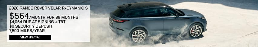 Certified Pre-Owned 2020 Land Rover Range Rover Velar R-Dynamic S With Navigation & 4WD. $564 PER MONTH FOR 39 MONTHS. $4,064 DUE AT SIGNING PLUS TAX AND TITLE. $0 SECURITY DEPOSIT. 7,500 MILES PER YEAR. VIEW SPECIAL. SILVER RANGE ROVER VELAR DRIVING DOWN DIRT ROAD.