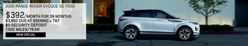 2020 RANGE ROVER EVOQUE SE P250. $392 PER MONTH FOR 39 MONTHS. $3,892 DUE AT SIGNING PLUS TAX AND TITLE. $0 SECURITY DEPOSIT. 7,500 MILES PER YEAR. VIEW SPECIAL. WHITE RANGE ROVER EVOQUE DRIVING DOWN ROAD IN CITY.