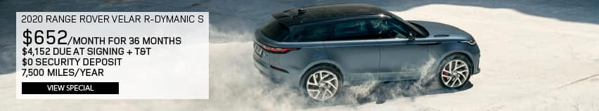 2020 RANGE ROVER VELAR R-DYNAMIC S P250. $624 PER MONTH FOR 36 MONTHS. $4,124 DUE AT SIGNING PLUS TAX AND TITLE. $0 SECURITY DEPOSIT. 7,500 MILES PER YEAR. VIEW SPECIAL. SILVER RANGE ROVER VELAR DRIVING DOWN DIRT ROAD.