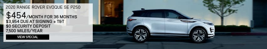 2020 RANGE ROVER EVOQUE SE P250. $454 PER MONTH FOR 36 MONTHS. $3,954 DUE AT SIGNING PLUS TAX AND TITLE. $0 SECURITY DEPOSIT. 7,500 MILES PER YEAR. VIEW SPECIAL. WHITE RANGE ROVER EVOQUE DRIVING DOWN ROAD IN CITY.