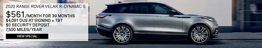 2020 Land Rover Range Rover Velar R-Dynamic S With Navigation & 4WD. $561 PER MONTH FOR 39 MONTHS. $4,061 DUE AT SIGNING PLUS TAX AND TITLE. $0 SECURITY DEPOSIT. 7,500 MILES PER YEAR. VIEW SPECIAL. SILVER RANGE ROVER VELAR DRIVING DOWN DIRT ROAD.