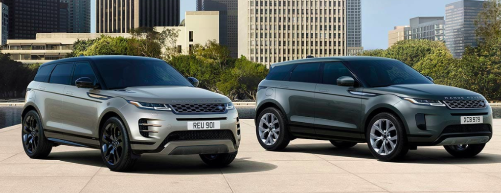 Two 2020 Range Rover Evoque Parked Side By Side