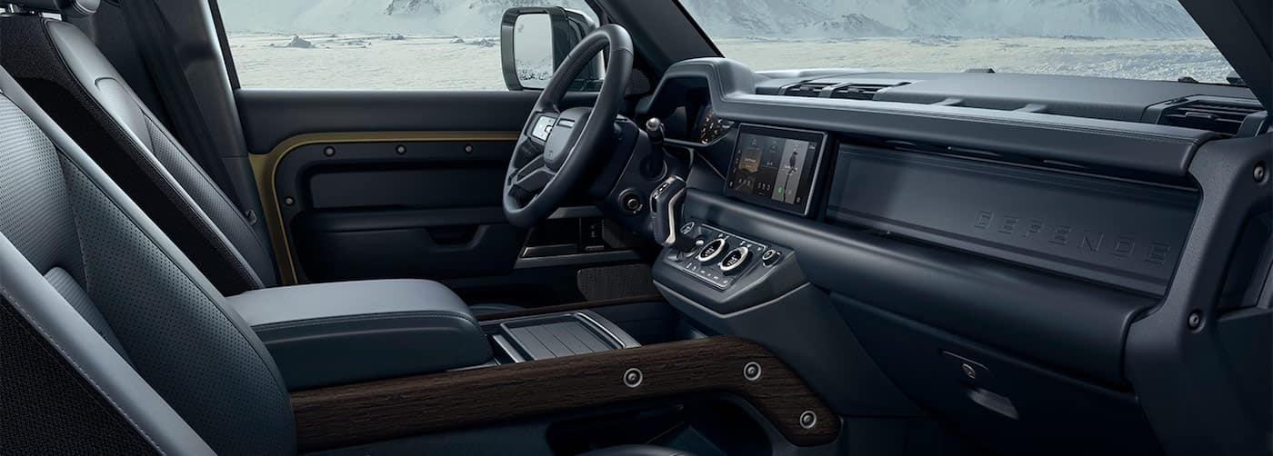 Interior of a 2020 Land Rover Defender with leather seats