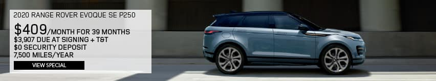 2020 RANGE ROVER EVOQUE SE P250. $409 PER MONTH FOR 39 MONTHS. $3,907 DUE AT SIGNING PLUS TAX AND TITLE. $0 SECURITY DEPOSIT. 7,500 MILES PER YEAR. VIEW SPECIAL. BLUE RANGE ROVER EVOQUE DRIVING DOWN ROAD IN CITY.