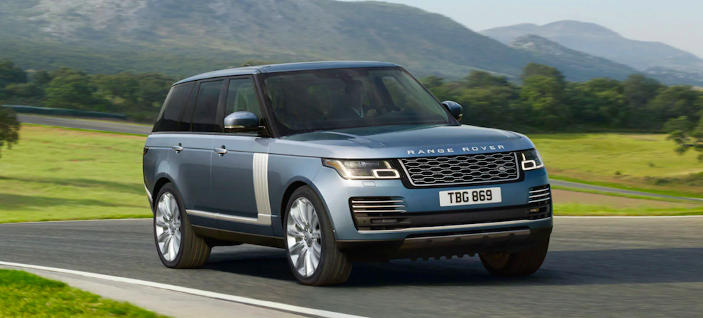 A 2020 Land Rover Range Rover driving on a country road