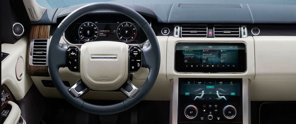 Interior cockpit view of a new 2020 Range Rover