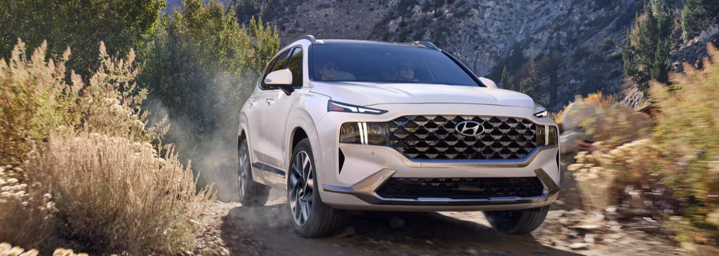 2021 Hyundai Santa Fe on dirt trail