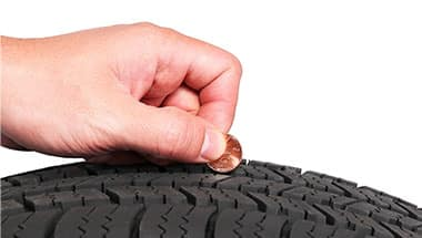 how to check tire wear with a penny