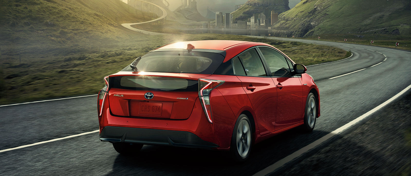 2016 Toyota Prius in red rear view
