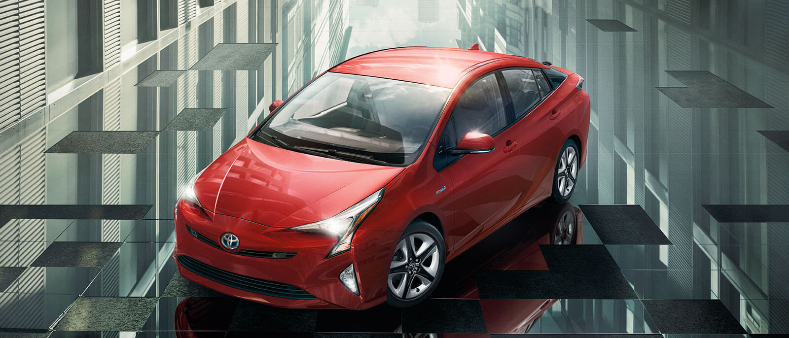 2016 Toyota Prius in red city view