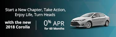 2018 Toyota Corolla 0% for 60 mos