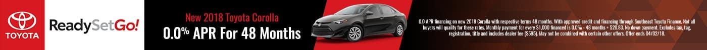 2018 Toyota Corolla 0% APR