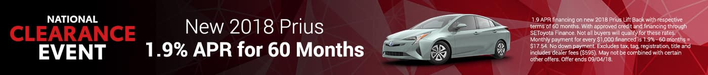 2018 Prius 1.9% APR for 60 Months