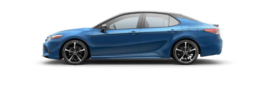 2018 Toyota Camry Blue Streak Metallic with Midnight Black roof and spoiler