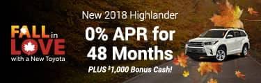 2018 Highlander 0% for 48 months