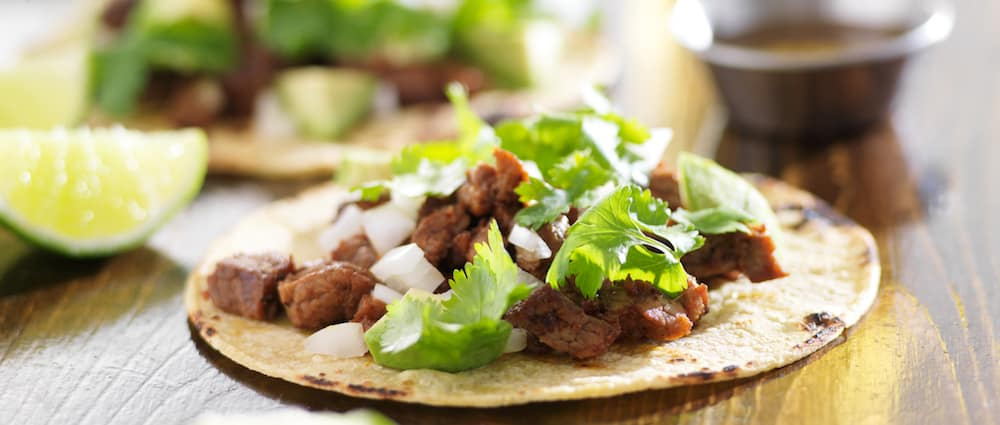 close up of traditional Mexican tacos