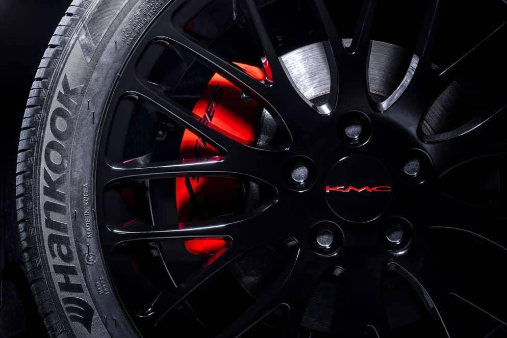Toyota Camry XP wheel with red brake calipers