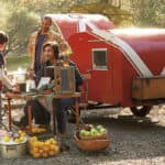 family camping with camping trailer