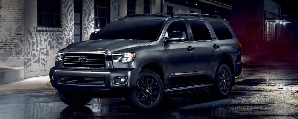 2021 Toyota Sequoia parked on the street at night
