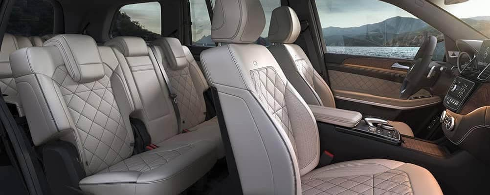 Mercedes-Benz GLS SUV Interior view of three rows of seating