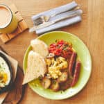 Bright brunch plate with fried eggs
