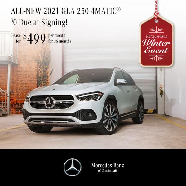 2021 GLA 250 4MATIC® Lease $0. Due at Signing! $499. Per Month   36 Months
