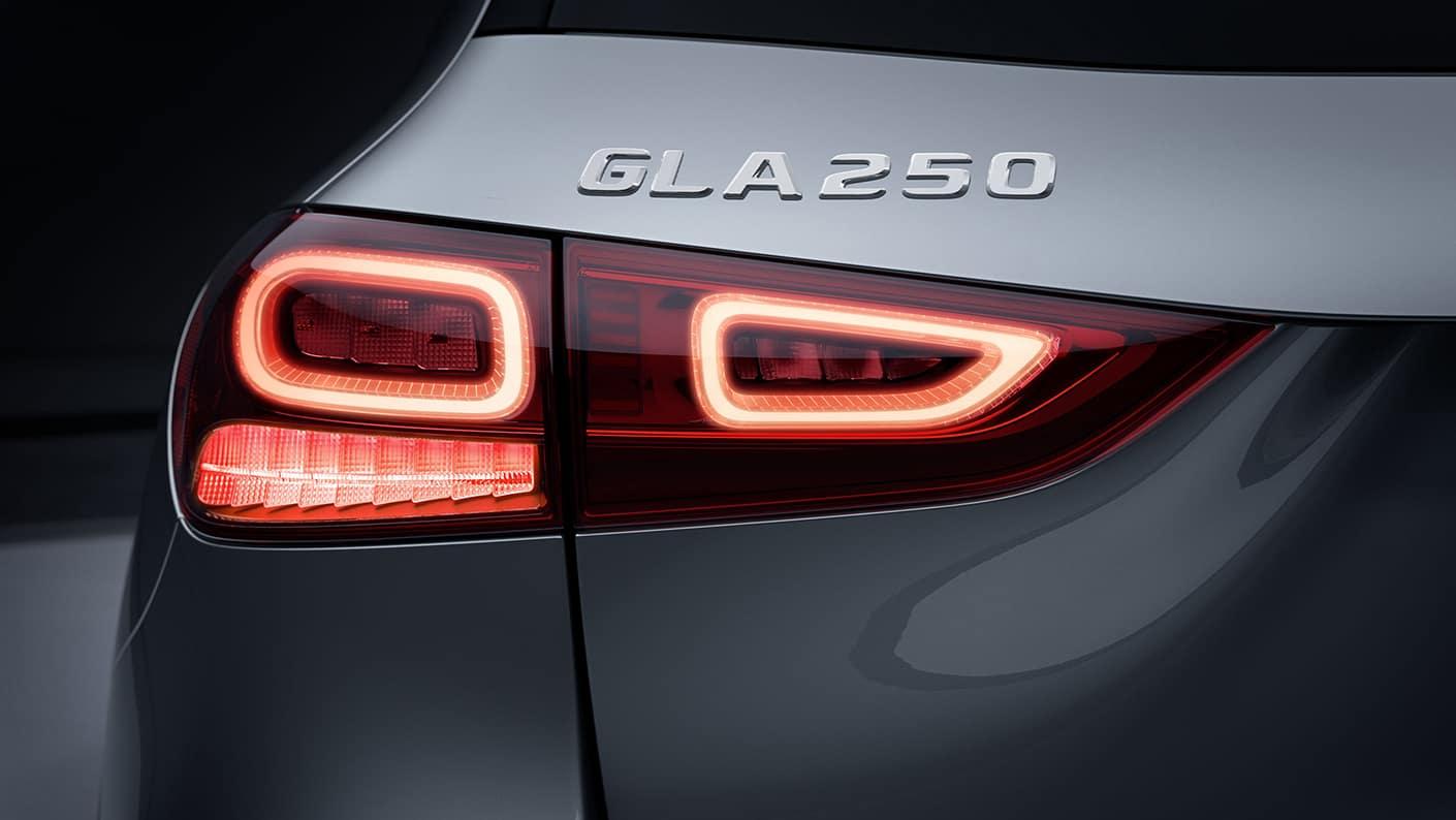 2021 GLA 250 emblem on back of car
