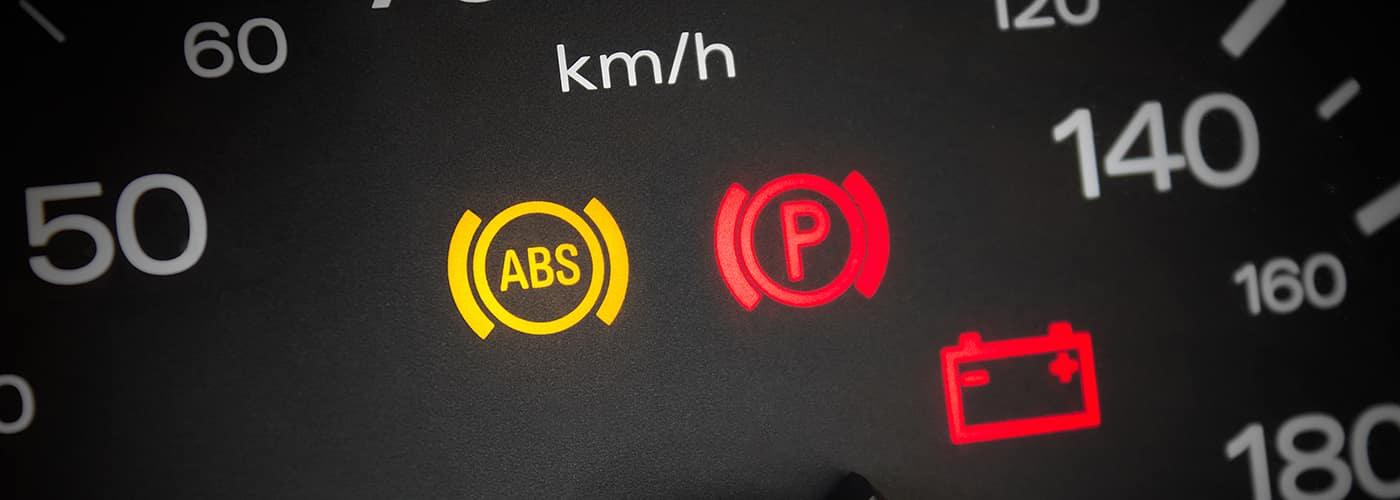 ABS light. Car dashboard in closeup