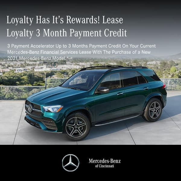 Receive up to 3 months payment on your current lease with the lease or finance of any New 2021 Mercedes-Benz vehicle