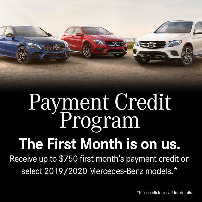 The First Month is on us.  Receive up to $750 first month's payment credit on select 2019/2020 Mercedes-Benz models