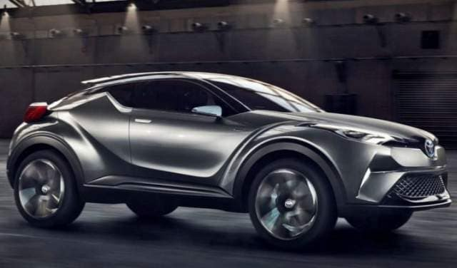 Side image of a 2019 Toyota C-HR in silver.