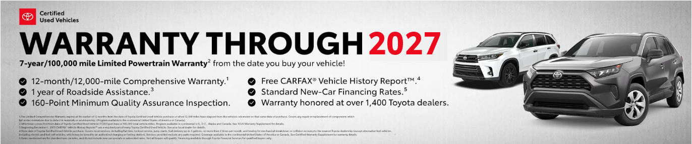 Toyota Certified Vehicles Warranty